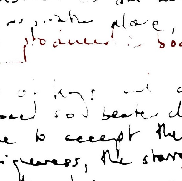 """Messy, black-and-white, handwritten notes, some illegible, with the phrase """"produced in boardrooms"""" coloured red. The word """"boardroom"""" is not visible in its entirety. (square)"""